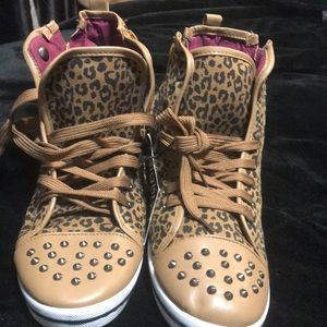 Shoes - Animal print fashion sneaker with stud detail